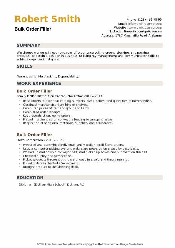 Bulk Order Filler Resume example