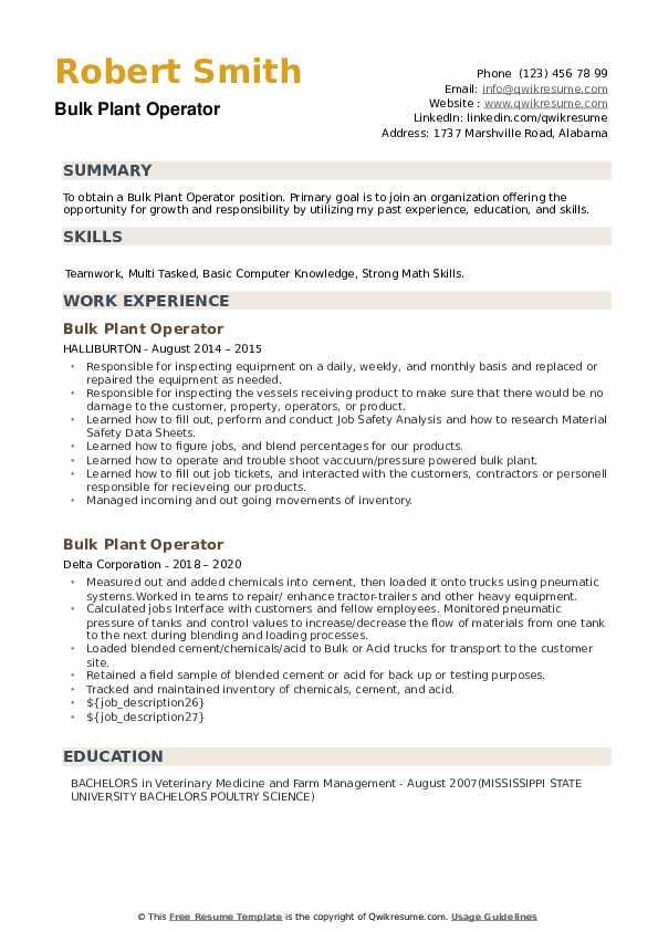 Bulk Plant Operator Resume example