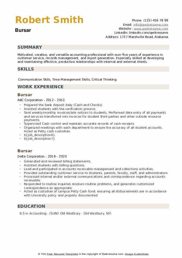 Bursar Resume example