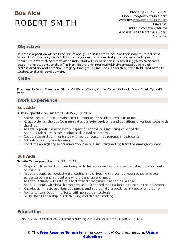 Bus Aide Resume Samples | QwikResume