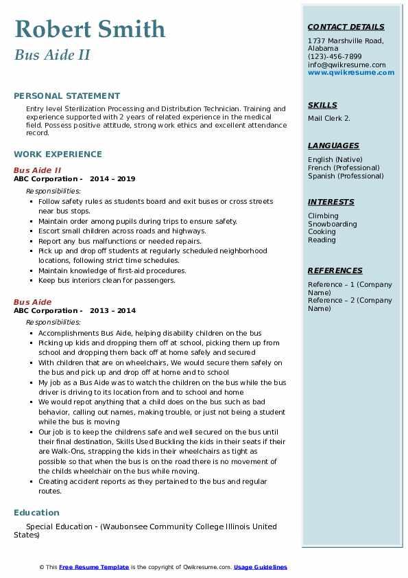 Bus Aide II Resume Sample