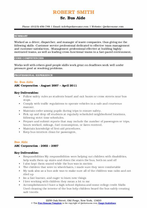 Sr. Bus Aide  Resume Template
