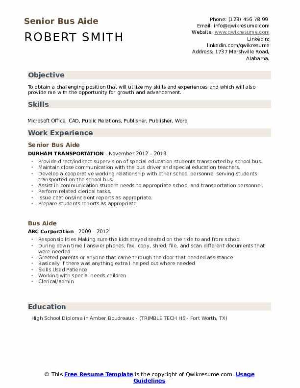 Senior Bus Aide Resume Example