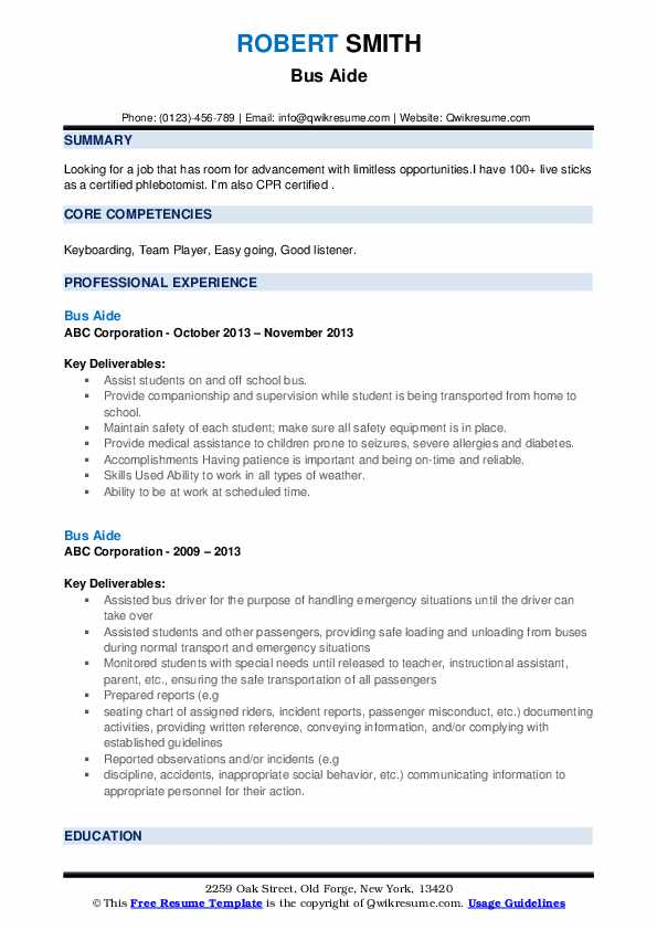 Bus Aide Resume example