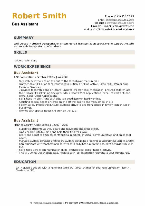 Bus Assistant Resume example