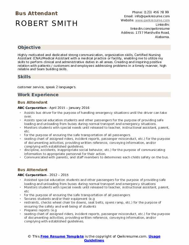 Bus Attendant Resume Sample