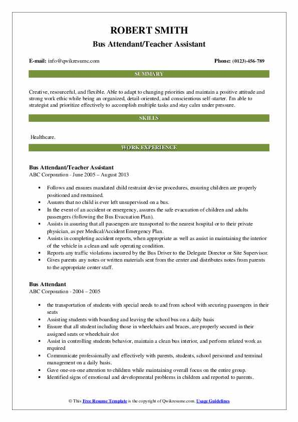Bus Attendant/Teacher Assistant Resume Sample