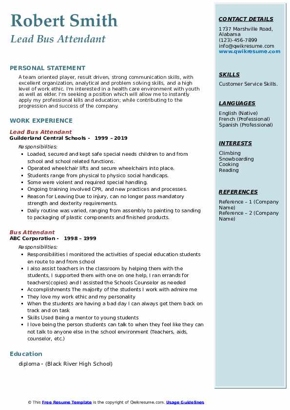 Lead Bus Attendant Resume Model