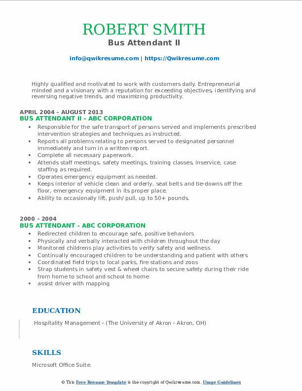 Bus Attendant II Resume Example