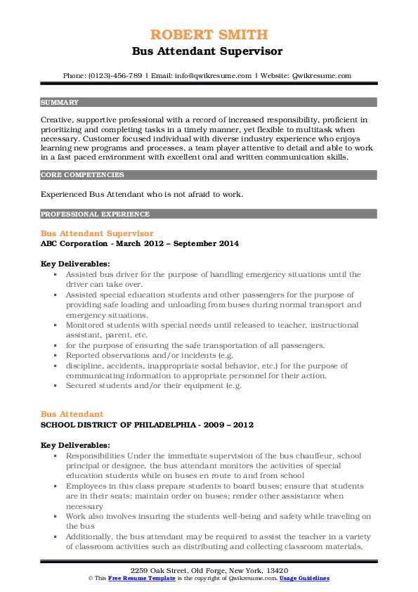 Bus Attendant Supervisor  Resume Template