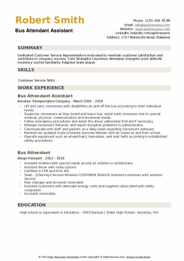 Bus Attendant Assistant Resume Example