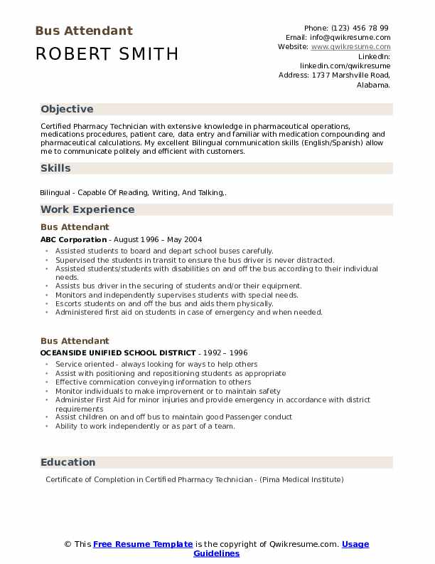 Bus Attendant Resume example