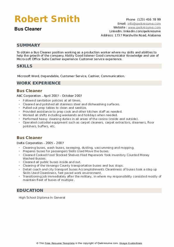 Bus Cleaner Resume example