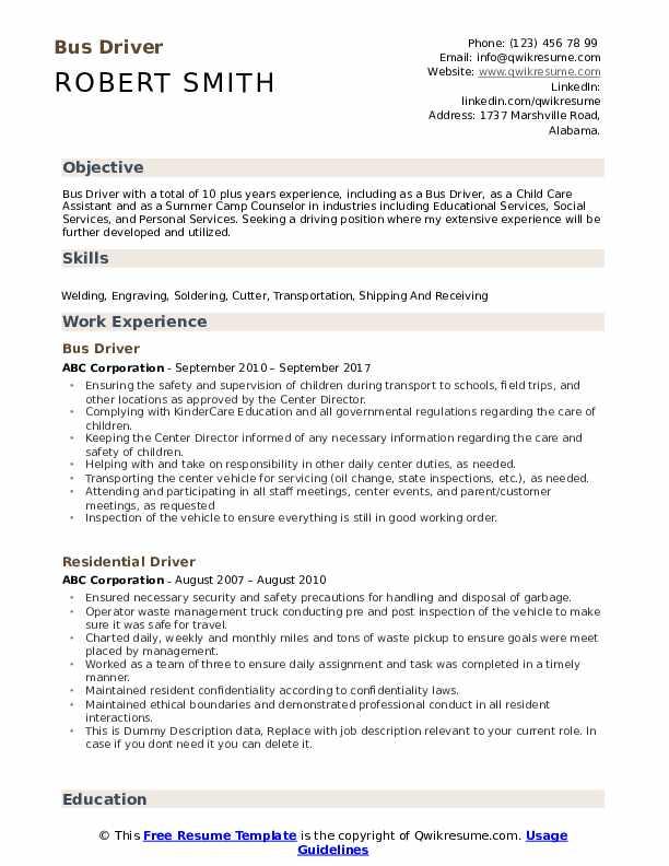 bus driver resume samples