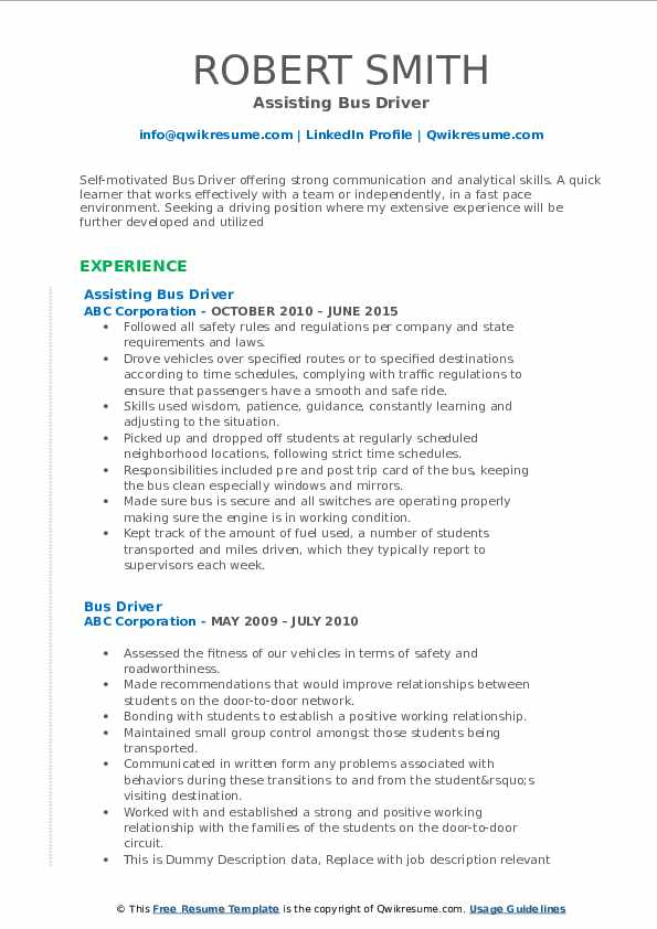 Assisting Bus Driver Resume Model