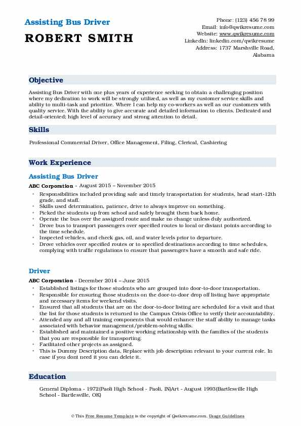 Assisting Bus Driver Resume Format