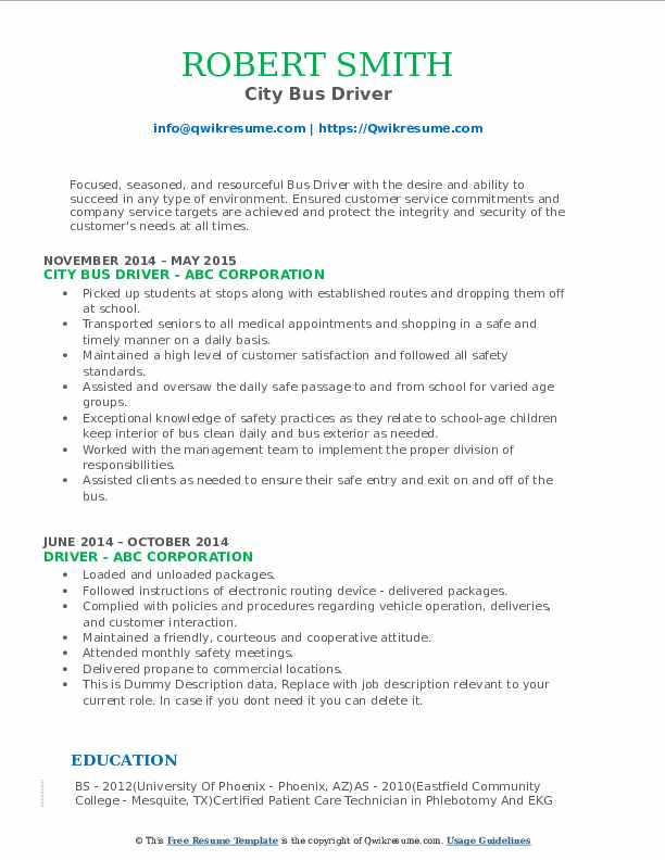 City Bus Driver Resume Format