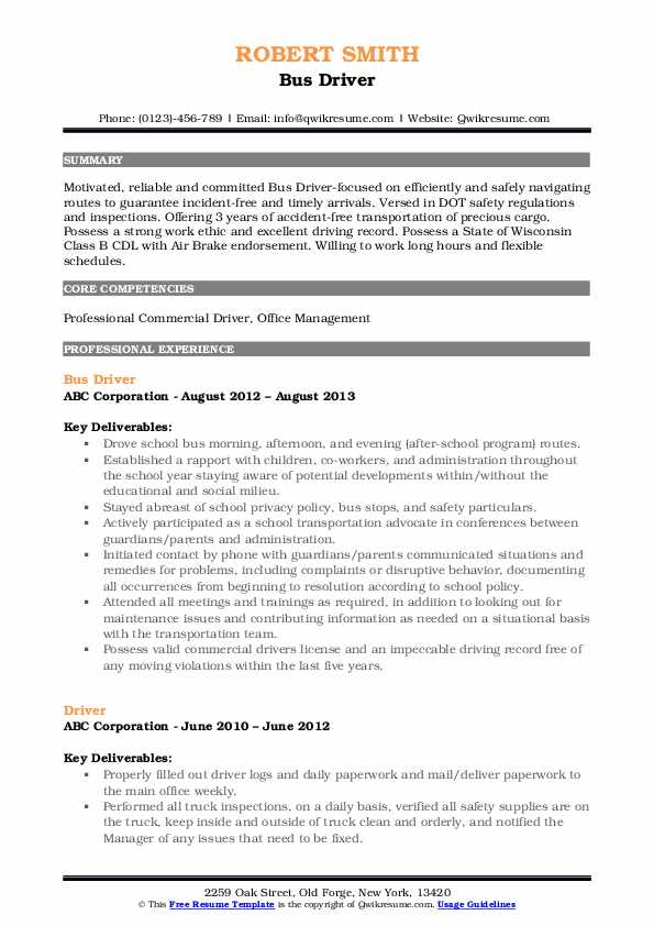 Bus Driver Resume Example