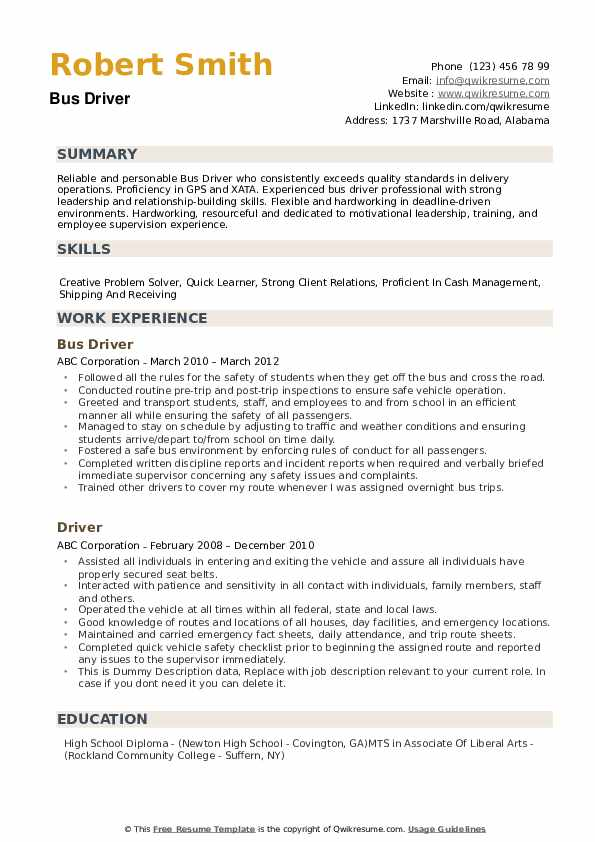 bus driver resume samples