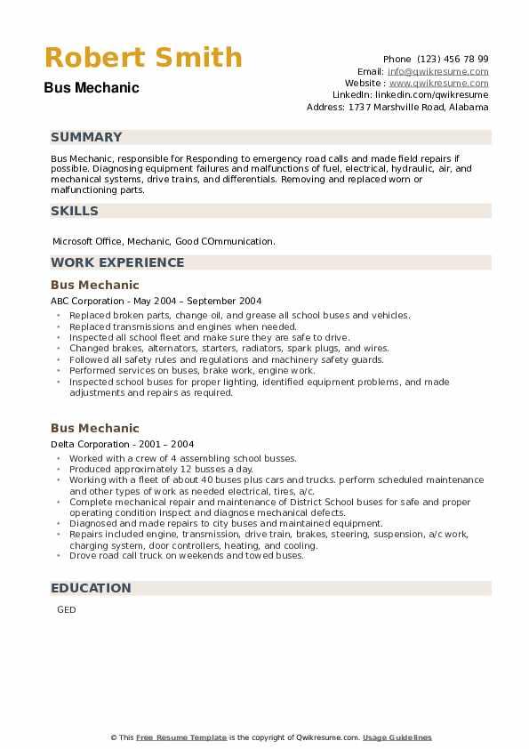 Bus Mechanic Resume example