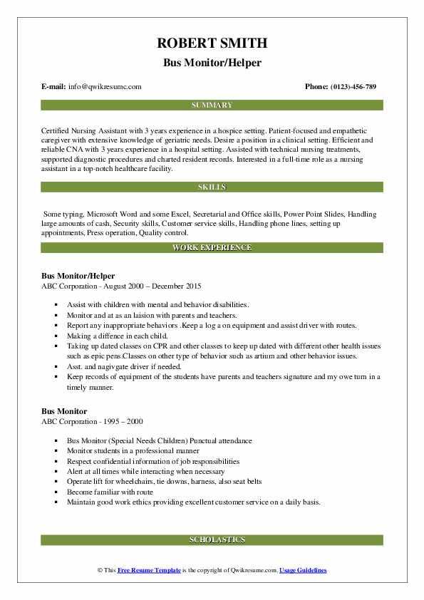 Bus Monitor/Helper Resume Template