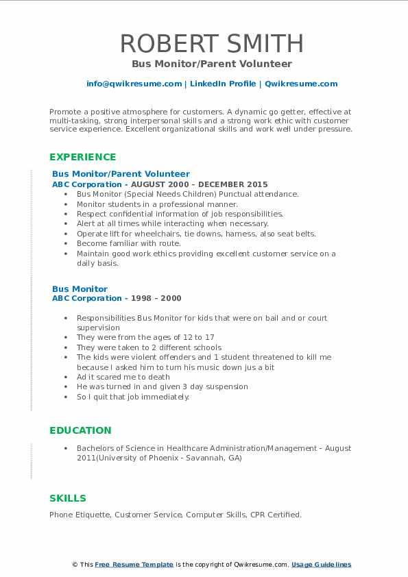 Bus Monitor/Parent Volunteer Resume Example