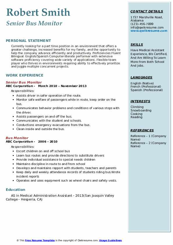 Bus Monitor Resume Samples | QwikResume