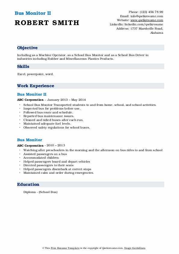 Bus Monitor II Resume Format