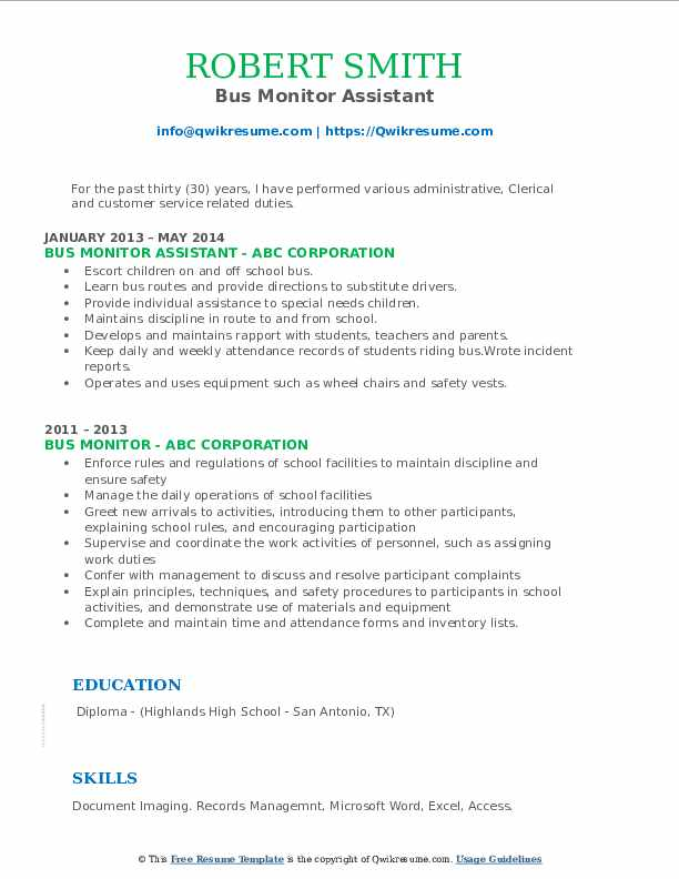 Bus Monitor Assistant Resume Example