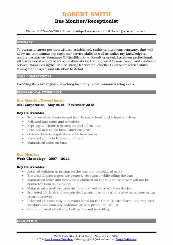 Bus Monitor/Receptionist Resume Template