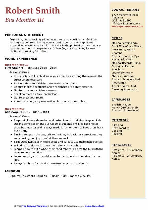 Bus Monitor III Resume Example