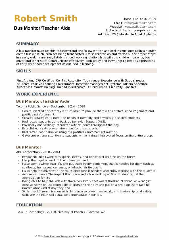Bus Monitor/Teacher Aide Resume Format