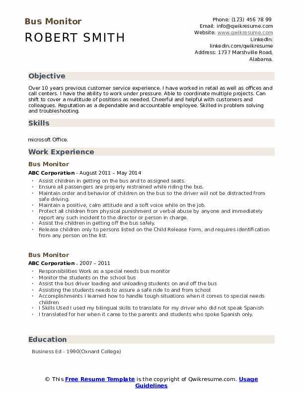 Bus Monitor Resume example