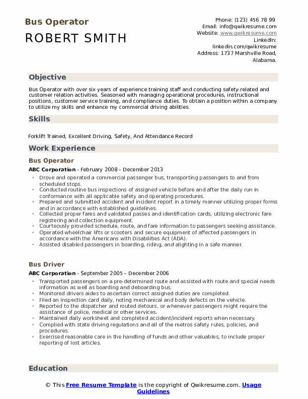 Bus Operator Resume Model