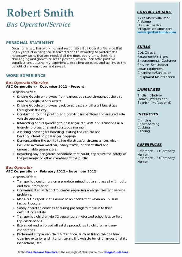 Bus Operator/Service Resume Model