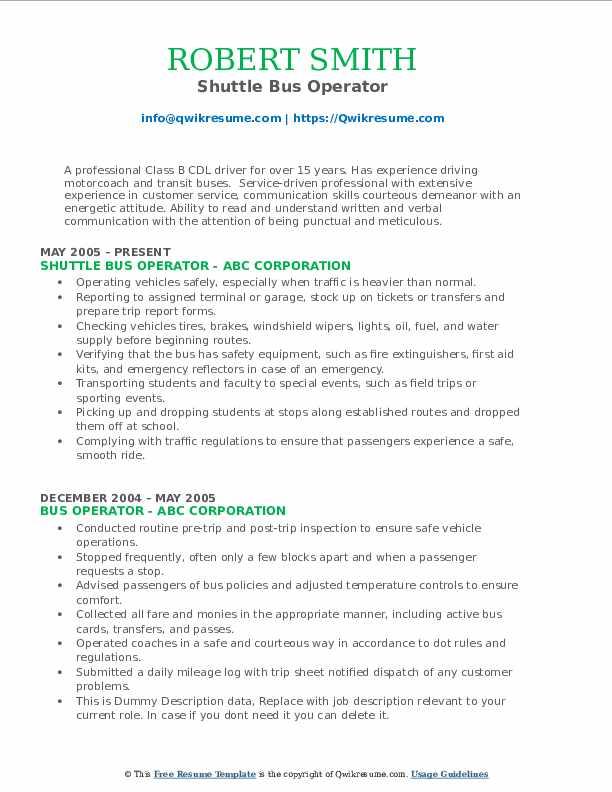 Shuttle Bus Operator Resume Model