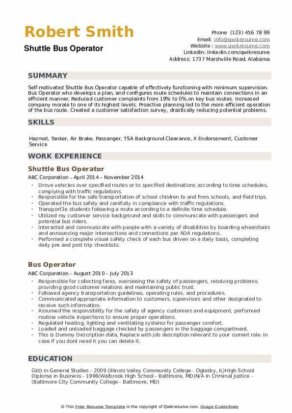 Bus Operator Resume example