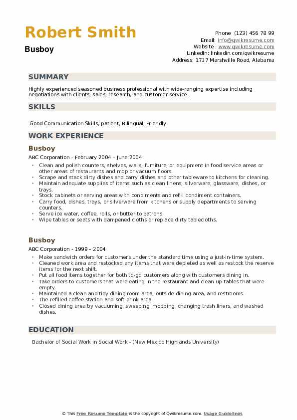 Busboy Resume example