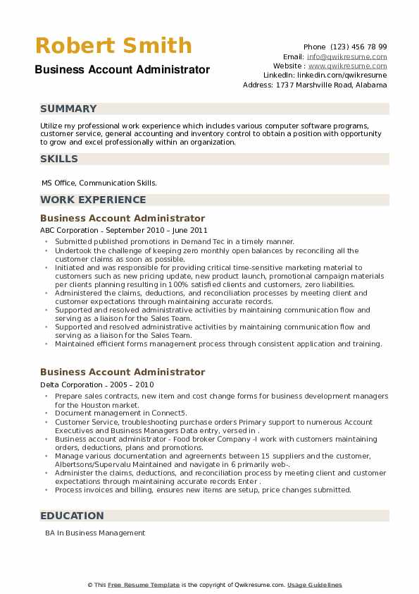 Business Account Administrator Resume example