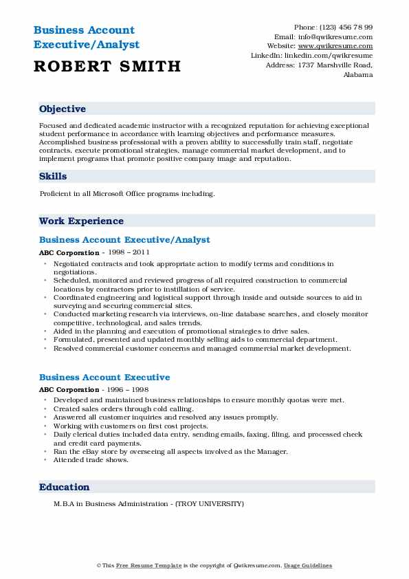 Business Account Executive/Analyst Resume Model