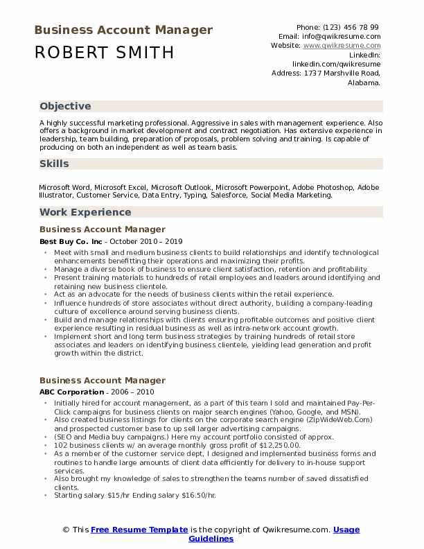 Business Account Manager Resume Sample