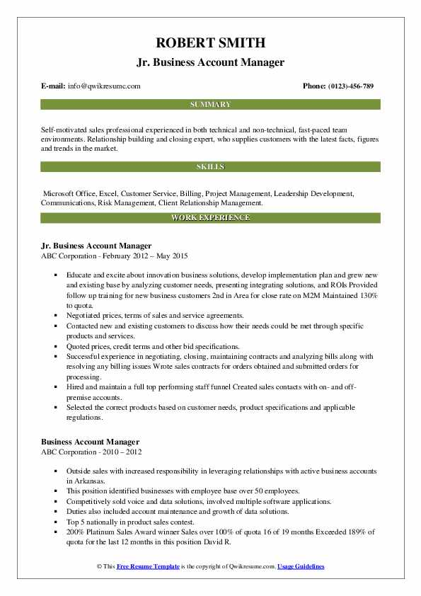 Jr. Business Account Manager Resume Sample