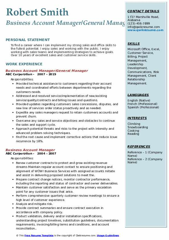 Business Account Manager/General Manager Resume Template