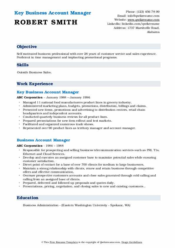 Key Business Account Manager  Resume Format