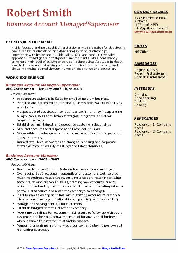 Business Account Manager/Supervisor Resume Sample