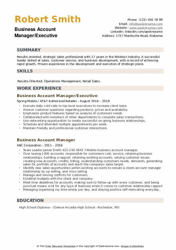 Business Account Manager/Executive Resume Sample