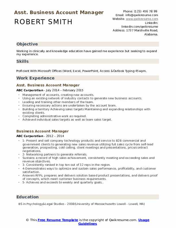 Asst. Business Account Manager Resume Template
