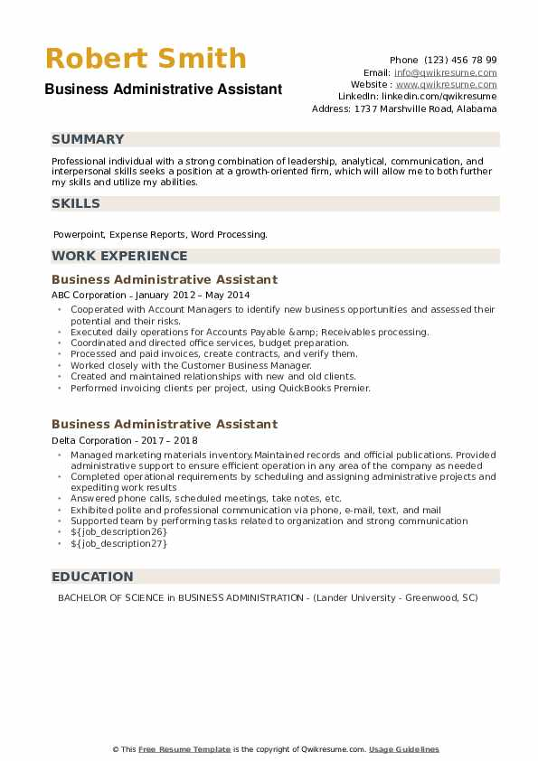 Business Administrative Assistant Resume example