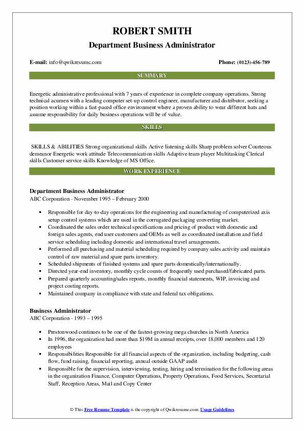 Department Business Administrator Resume Template