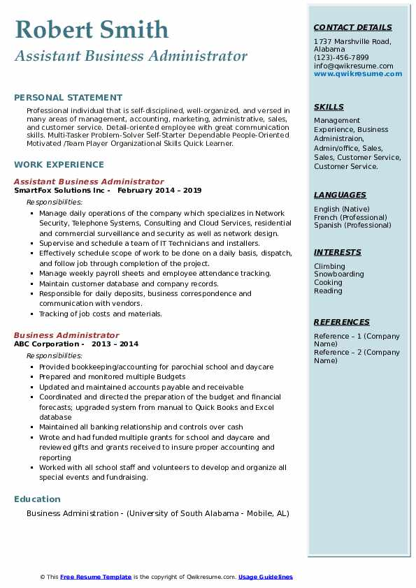Assistant Business Administrator Resume Format